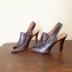 Anthropologie No 704b Leather Booties Heels Shoes